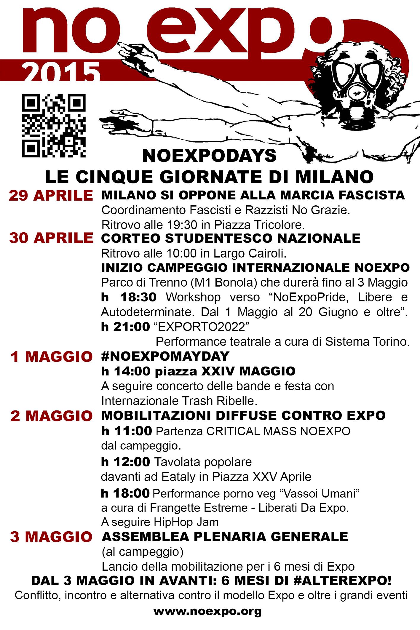 #NoExpoDays – programma delle cinque giornate